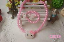 Girl kid children Hello Kitty Faux Pearl Necklace Pedant Bracelet Ring Set Gift
