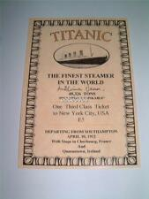 TITANIC WHITE STAR LINE MILLVINA DEAN SIGNED (PRINTED) 3rd CLASS REPLICA TICKET