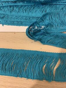 Teal silky trim for dress making, upholstery trim 6cm wide--