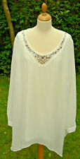 Evans cream double layer chiffon style beaded tunic  size 28   (crate 1)