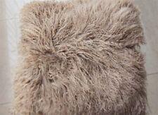 100% Real Mongolian Lamb Wool Cushion Cover Khaki Curly Fur Pillowcase 16''x16''