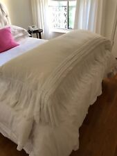 VINTAGE MONOGRAMED WHITE LINEN BED BOLSTER WITH RUFFLES