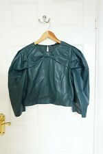 Zara Faux Leather Top Bow Knot, Round Neck Puff Shoulder, Green, M, BNWT