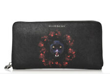 AUTH GIVENCHY JAGUAR PRINT LARGE LONG ZIPPER WALLET CLUTCH BLACK