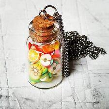 Unique FRUIT SALAD NECKLACE cute GLASS JAR food FRUIT jewellery MINIATURE vit C