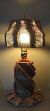 Vintage Folk Art Popsicle Stick Table Lamp and Shade Large Tramp Art