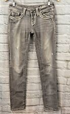 Miss Me Skinny Signature Light Gray Distressed Bling Jeans JY5014S  Size 26/32