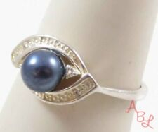 Sterling Silver Vintage 925 Cocktail Blue Pearl Ring Sz 7 (2.6g) - 740830
