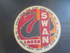 """1 only SWAN Brewery ,Swan Lager """" 100mm Dia """" 1955  Issue  BEER Coaster"""