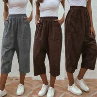 Mode Femme Pantalons Rayure Coton Poche Taille elastique Haut Loisir Jambe Large