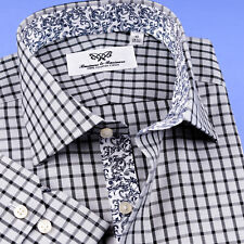 Mens Black & Grey Professional Formal Business Shirts With Elegant Floral