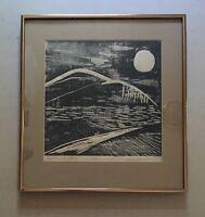 """""""Evening on the Gorge"""" 7/25 Block Print Black Ink Matted Frame Landscape PNW"""