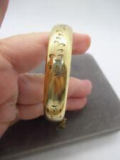 """Carved Floral Bangle Bracelet 1/2"""" Wide Vintage Victorian Gold Filled Etched &"""