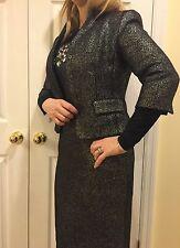 Worth New York  Suite 78% Gunmetal Wool Body cone Dress$598  & Jacket  $698 Sz 8