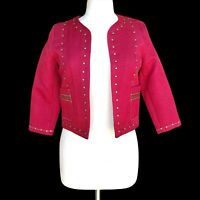 HARLOWE GRAHAM Women's Size M Maroon Studded Open Front Crop Blazer Jacket
