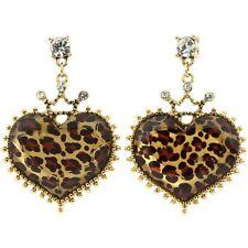 Betsey Johnson LOVELY LEOPARD Large Crown Heart Drop Gold-Tone Stud Earrings NEW