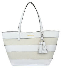 Michael Kors Womens Large White Natural Stripe East West Tote Purse Bag Handbag