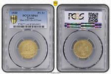 M5509 Rare 1 Franc Chambre de Commerce 1920 A PCGS SP64 Bronze- Aluminium FDC !!