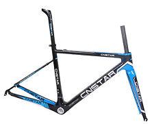 50cm Cuadro para Bicicleta de carretera de carbono horquilla tija Di2 brillante 700C Bicicleta De Carrera Azul BSA