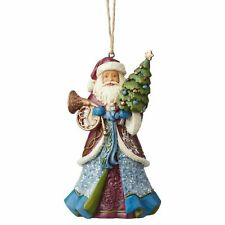 Jim Shore 2019 VICTORIAN SANTA WITH HORN HOLDING TREE HANGING ORNAMENT 6004187