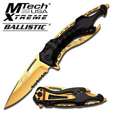 M-Tech Spring Assisted Gold TI-Coated Aluminum Tactical Rescue Pocket Knife!