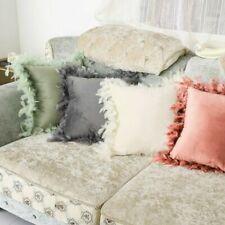 Velvet Pillow Feather Throw Pillow Cases Fluffy Sofa Cushion Cover Family Decor