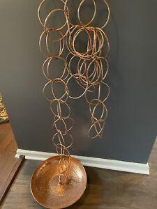 "Large Copper Hanging Basket Large Rings 105"" Long  BEAUTIFUL Unique"