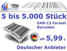 250 Stück - EAN 13  Barcodes - NEU und GS1 unregistriert - TESTCODE kostenlos