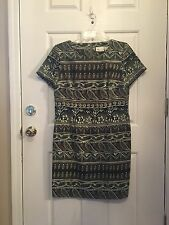 Kathie Lee Collection Green Print Sheath Dress Size 14