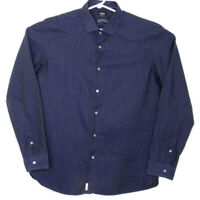 Hugo Boss Embroidered Mens Button Down Sz XLarge Long Sleeve Shirt  Blue Striped