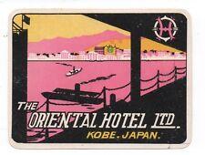 1930s Luggage Label the Oriental Hotel Ltd Kobe Japan