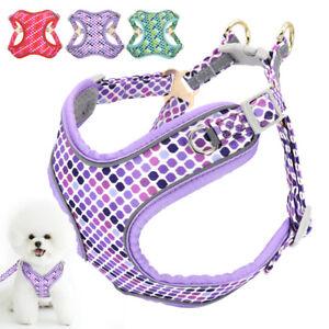 Polka Dots Step In Pet Dog Walking Vest Harness Reflective Soft Mesh Padded S-L