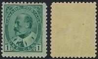 Canada Scott 89: 1c King Edward VII Issue, vertical crease, fresh colour, F-LH