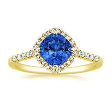 14K Yellow Gold 1.61 Ct Cushion Cut Diamond Natural Blue Sapphire Ring Size O K