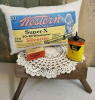 VINTAGE OLD STYLE CABIN WESTERN WINCHESTER HUNTING BULLET GUN ADVERTISING PILLOW