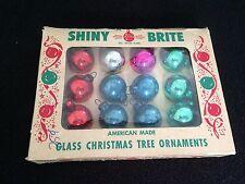 Lot Box 12 Feather Tree Shiny Brite Whte VINTAGE Glass Xmas Ornament Mini