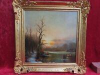 schönes altes Gemälde, belebte Winterlandschaft am See ,signiert  : Stanisie