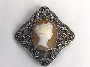 Excellent Victorian Silver and Cameo Belt Buckle, 1899