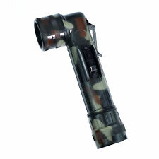 Woodland Camouflage Angle Head Waterproof Flashlight Military Torch 2D Battery