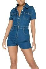 Womens Blue Denim Short Sleeve Button Up Playsuit Romper