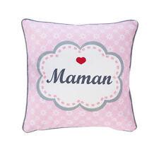 krasilnikoff Funda de cojín Maman ROSA PINK Blancas Flores Mamá