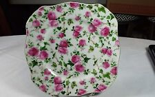 Mayfair By Jay Pink Flowers Square Chintz Plate w/Gold Rim Beautiful Collectible