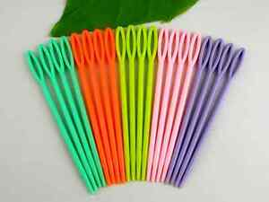 10 x Children's Plastic Needles for Sewing or Binca NEW