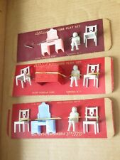 Vintage Allied Dollhouse Furniture Play Set Lot Sink Chair Child Vanity (V216)