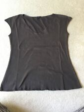 MARKS AND SPENCER LIMITED COLLECTION CAP SLEEVE T SHIRT SIZE M BROWN