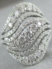 Large 3Ct Diamond Right Hand Band 18K White Gold Swirl Rows Cocktail Ring R09069