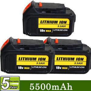 18V 5.5Ah Li-ion Battery for DEWALT DCB184 DCB182 DCB200 DCB180 XR Slide 3 Pack