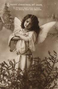 REAL PHOTO SCHWERDTFEGER GORGEOUS YOUNG GIRL PRETENDING to be an ANGEL POSTCARD