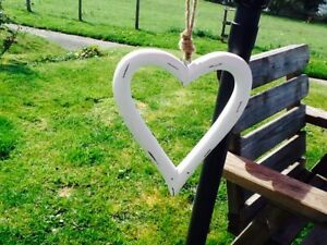 GORGEOUS LARGE CARVED ANTIQUE WASH WHITE WOODEN OPEN HANGING HEART