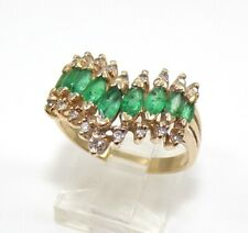 Effy BH 14K Yellow Gold Ring Natural Green Emerald & Diamond Size 8.5 LHA3